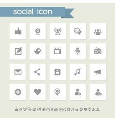 Social icon set Simple flat buttons vector image vector image