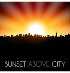Sunset above city silhouette vector