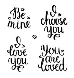 Valentine lettering phrases vector image