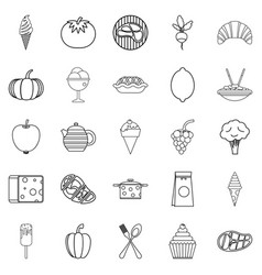 Veggies icons set outline style vector