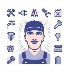 Worker icons vector