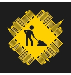 worker with shovel isolated icon design vector image