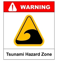 Tsunami hazard sign vector image