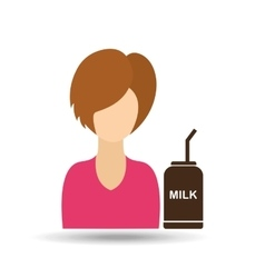 character girl cup milk straw icon graphic vector image