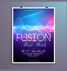 Music beats party flyer template with sound waves vector