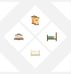 Flat bed set of bedroom cot bed and other vector
