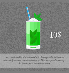 Alcoholic mojito cocktail card template vector