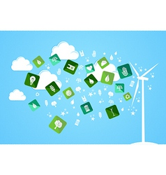 Cloud splash eco friendly icons vector