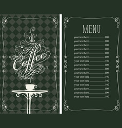 Coffee menu with a price list and cup of coffee vector