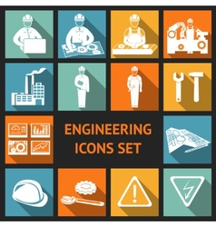 Flat engineering icons set vector