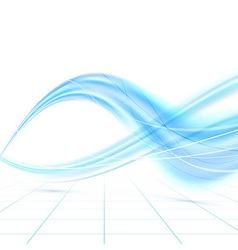 Bright blue abstract swoosh waves vector