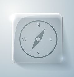 Glass square icon with highlights compass vector
