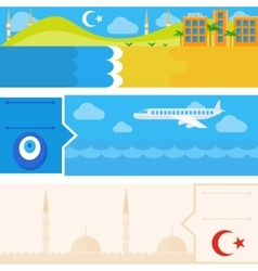 Turkish set of horizontal flat banners vector
