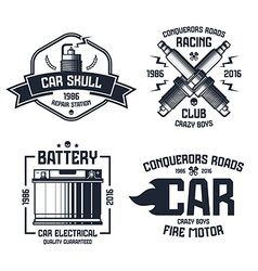 Car repair and racing emblems vector