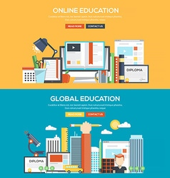 Flat design concept banner online and global vector