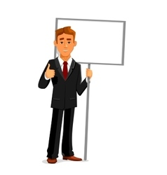 Businessman with an empty sign board and thumb up vector