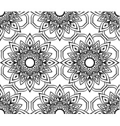 Abstract flower black and white seamless vector