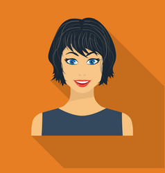 black hair woman icon in flate style isolated on vector image vector image