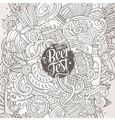 Cartoon cute doodles hand drawn Beer frame design vector image vector image