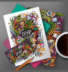 Cartoon cute hand drawn doodles designer vector