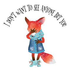 Cartton fox card vector
