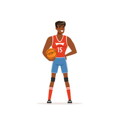 Cheerful basketball player standing with ball in vector