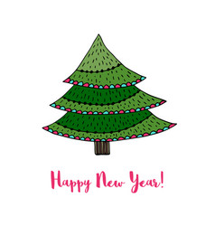 christmas tree sticker happy new year cartoon vector image vector image