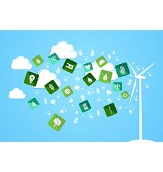 Cloud splash eco friendly icons vector image vector image