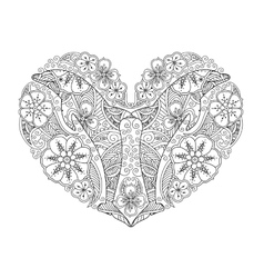 Coloring page with dolphin in heart shape isolated vector image