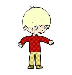 Comic cartoon confused boy vector