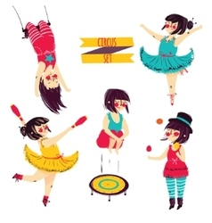 Cute circus set vector image vector image