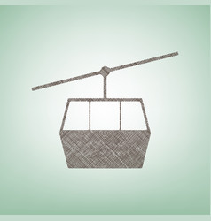 Funicular cable car sign brown flax icon vector