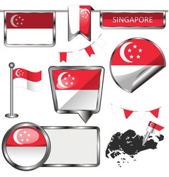 glossy icons with flag of singapore vector image vector image