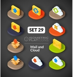 Isometric flat icons set 29 vector