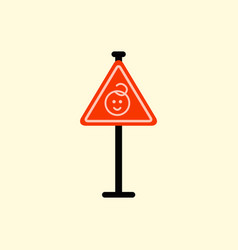 kids warning road sign vector image