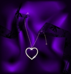 lace and pendant heart vector image