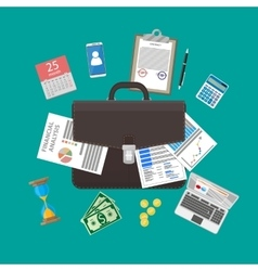 Leather briefcase and business items vector