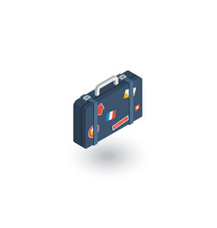 Luggage suitcase travel bag whith stickers vector