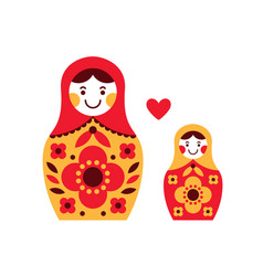 matryoshka russian dolls mother and daughter vector image
