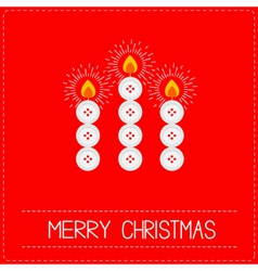 Merry christmas candles button red vector