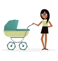 Mother with baby stroller cartoon vector