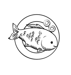 Seafood dish with grilled ocean fish vector