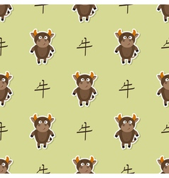 Seamless pattern with chinese zodiac ox sign vector