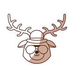 shadow vintage deer face vector image vector image