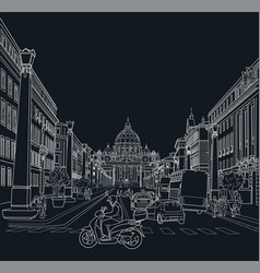 sketch of the street of rome vector image vector image