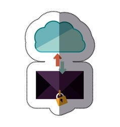 Sticker blue cloud with arrows in opposite vector