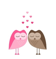 Two funny owls in love isolated on white vector