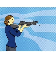 Woman with arbalest in comics vector image vector image