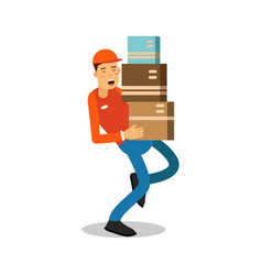 worker mover man holding and carrying heavy vector image vector image