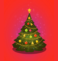 xmas tree christmas decorations vector image